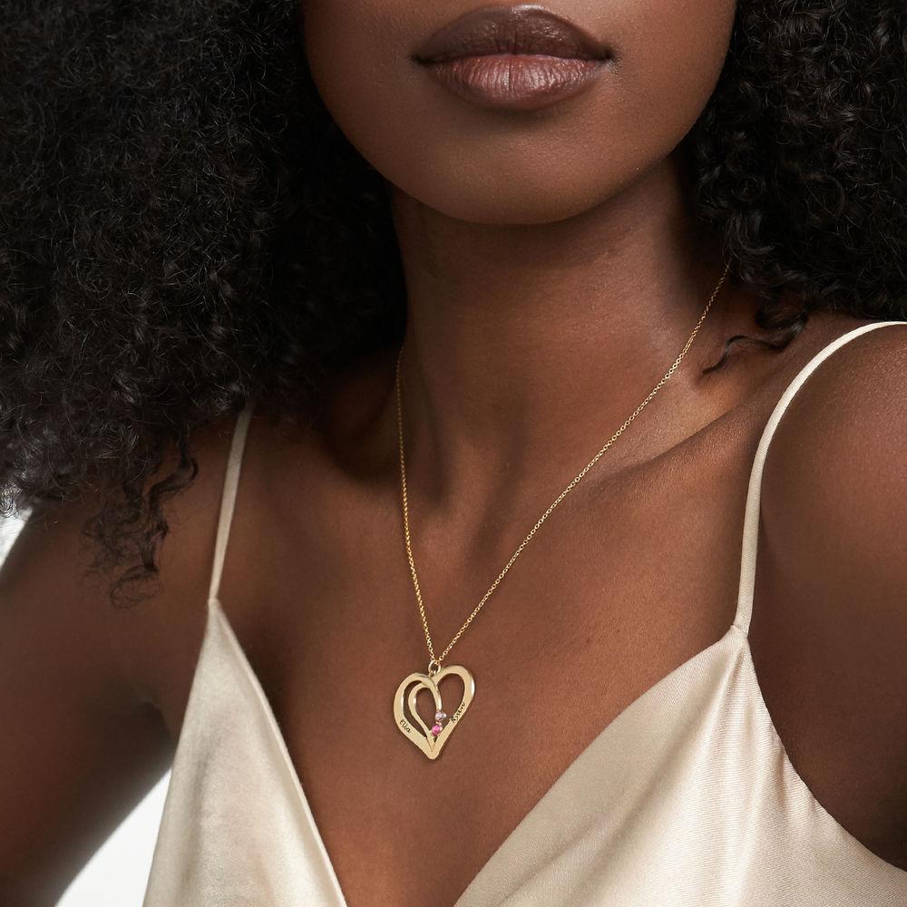 Hjerte halskæde med gravering og fødselssten i guld vermeil - 2