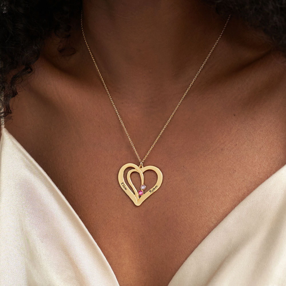 Hjerte halskæde med gravering og fødselssten i guld vermeil - 3