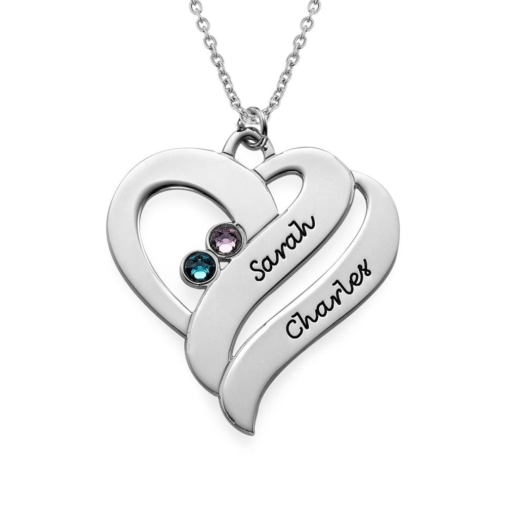 To hjerter banker som èt-halskæde med fødselssten i sølv