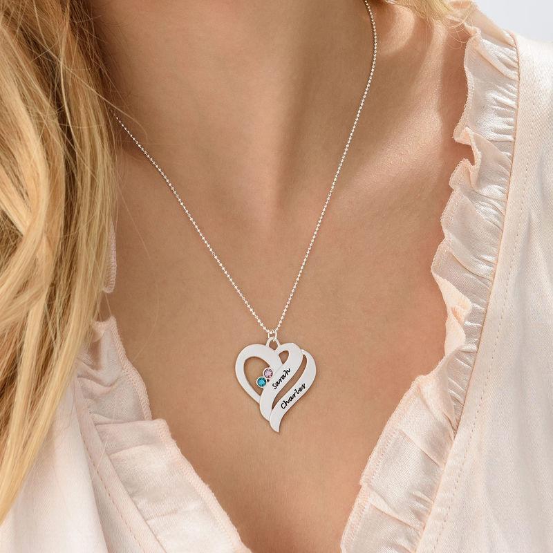 To hjerter banker som èt-halskæde med fødselssten i sølv - 3