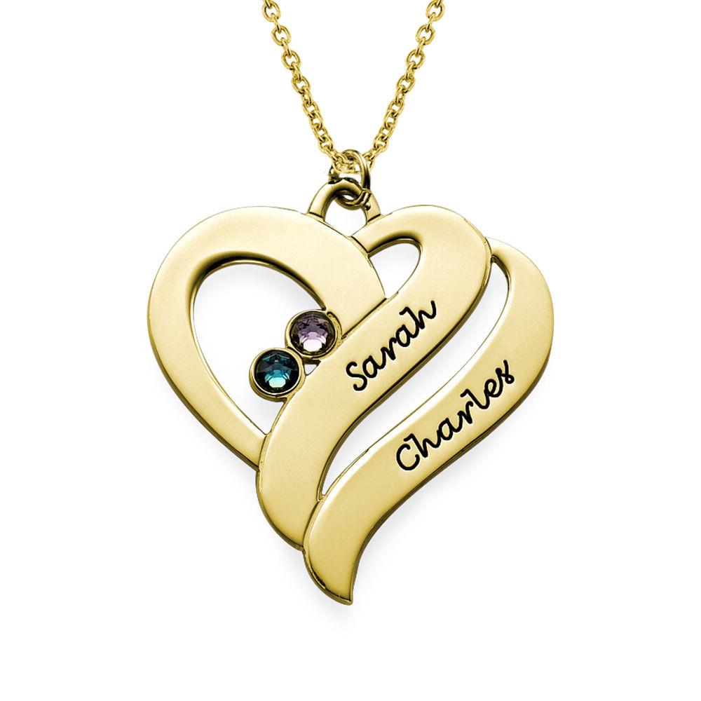 To hjerter banker som èt-halskæde med fødselssten i forgyldt sølv