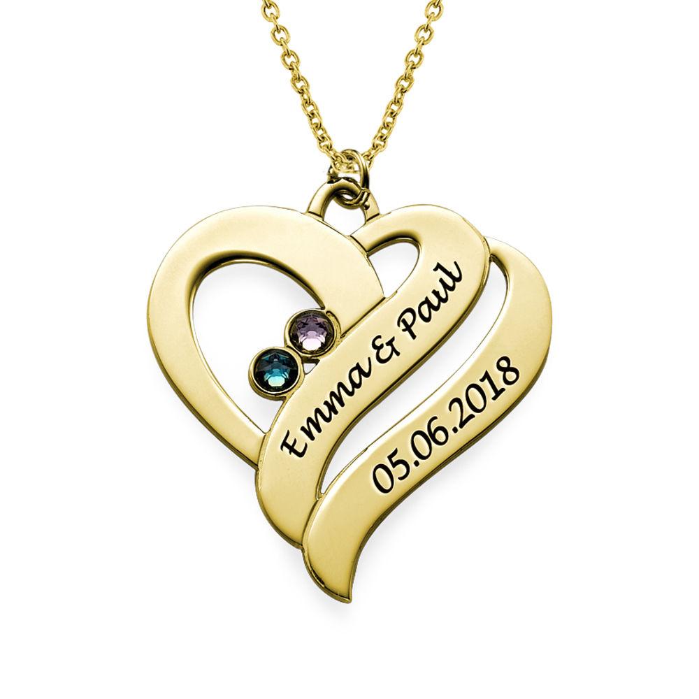 To hjerter banker som èt-halskæde med fødselssten i forgyldt sølv - 1