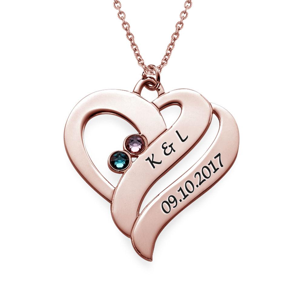 To hjerter banker som èt-halskæde med fødselssten i rosaforgyldt sølv - 1