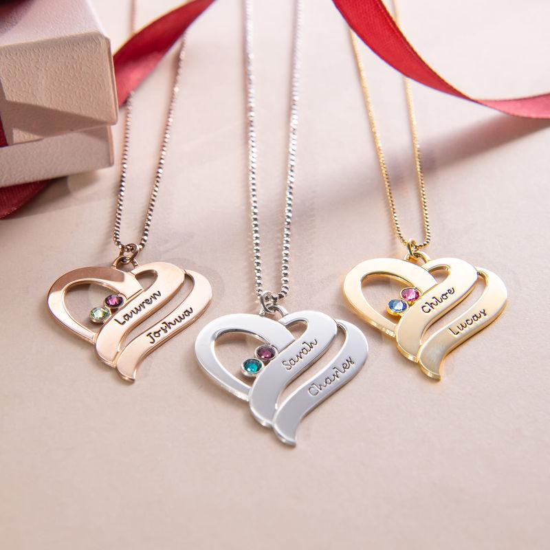 To hjerter banker som èt-halskæde med fødselssten i rosaforgyldt sølv - 2