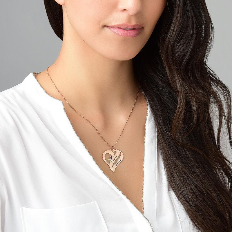 To hjerter banker som èt-halskæde med fødselssten i rosaforgyldt sølv - 5