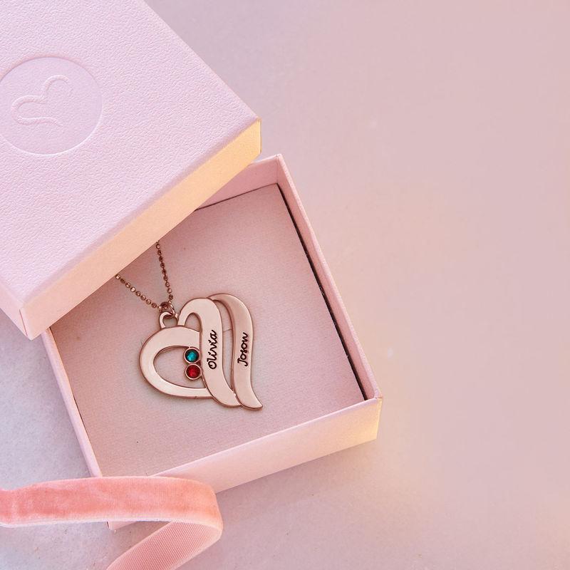To hjerter banker som èt-halskæde med fødselssten i rosaforgyldt sølv - 6