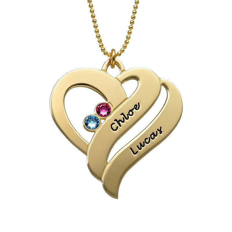 To hjerter banker som èt-halskæde med fødselssten i 10 karat guld