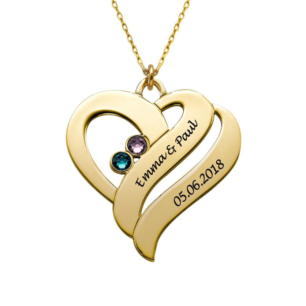 To hjerter banker som èt-halskæde med fødselssten i 10 karat guld - 1