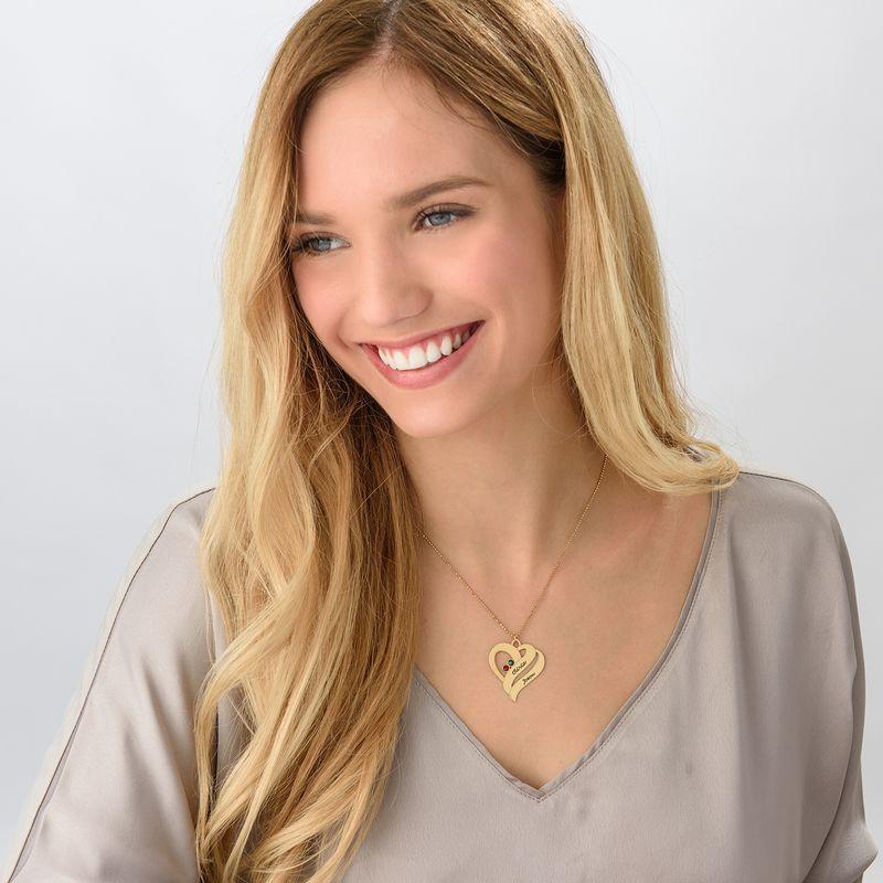 To hjerter banker som èt-halskæde med fødselssten i 10 karat guld - 2