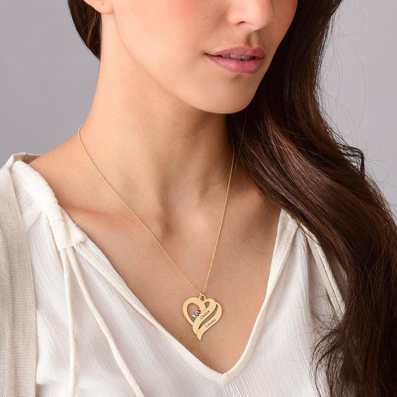 To hjerter banker som èt-halskæde med fødselssten i 10 karat guld - 4