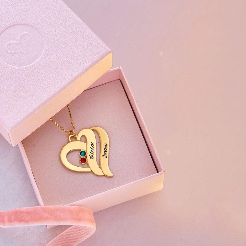 To hjerter banker som èt-halskæde med fødselssten i 10 karat guld - 5