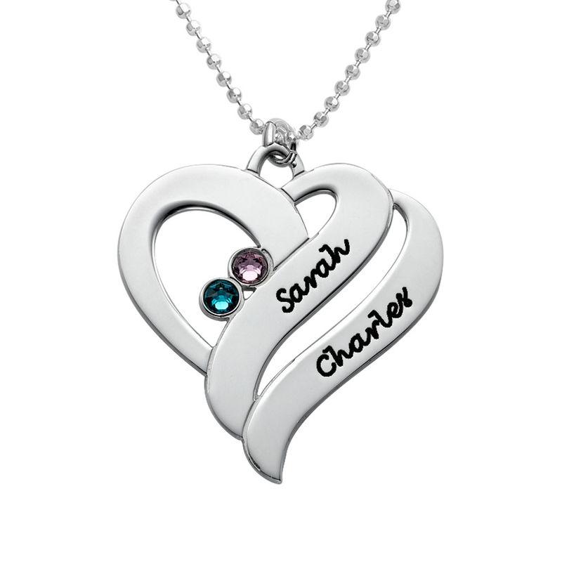To hjerter banker som èt-halskæde med fødselssten i 10 karat hvidguld - 1