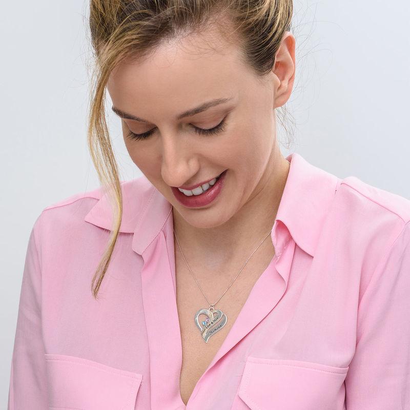 To hjerter banker som èt-halskæde med fødselssten i 10 karat hvidguld - 2