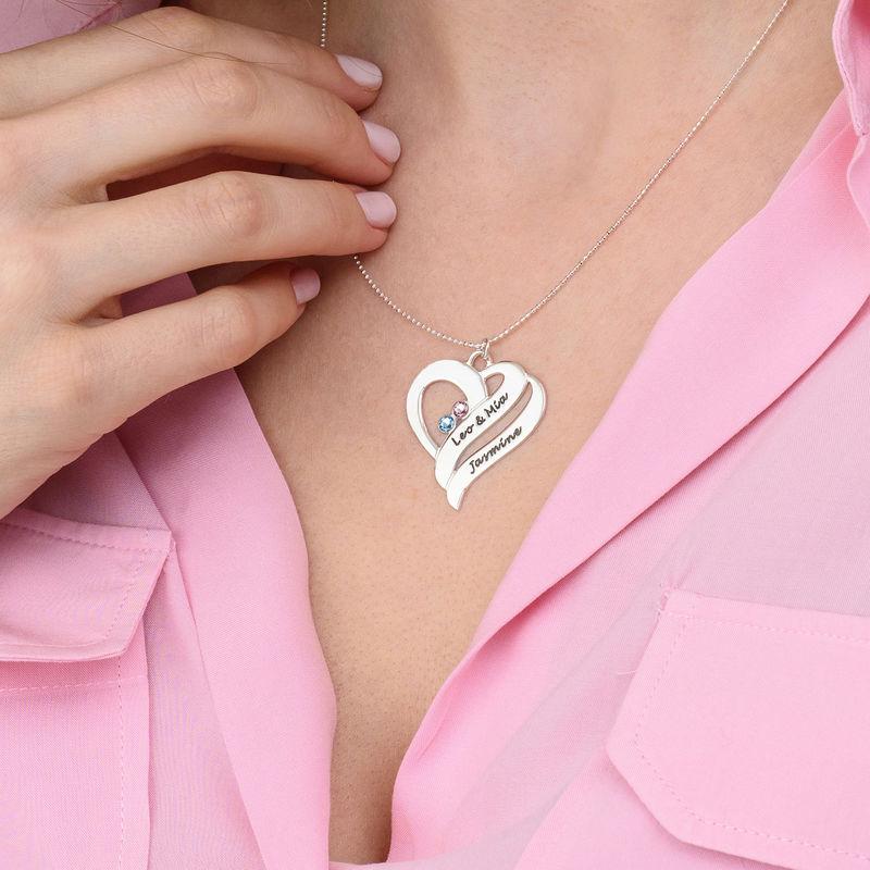 To hjerter banker som èt-halskæde med fødselssten i 10 karat hvidguld - 3