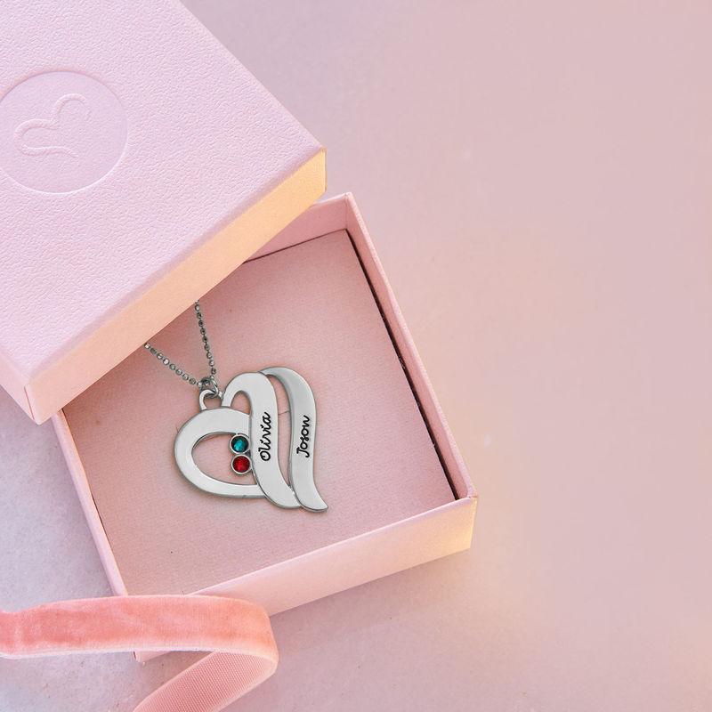 To hjerter banker som èt-halskæde med fødselssten i 10 karat hvidguld - 4