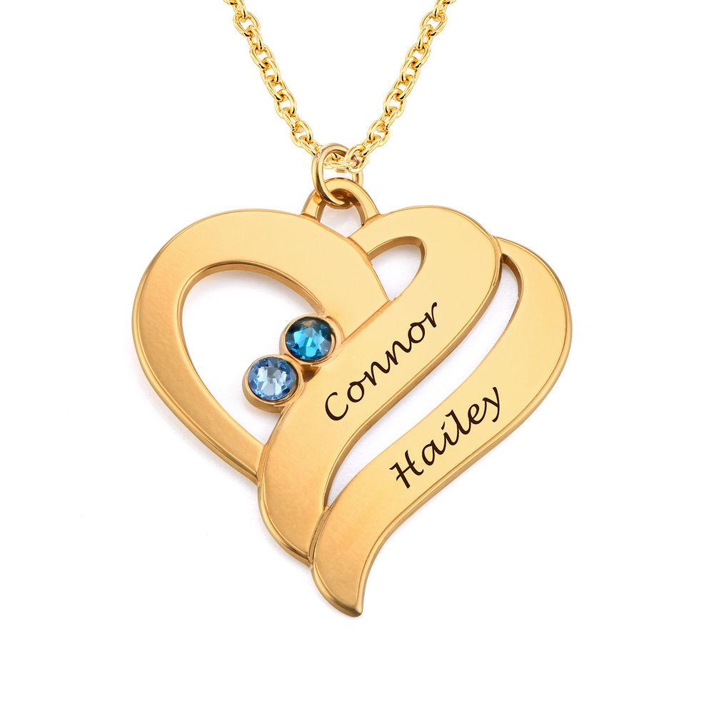To hjerter banker som èt-halskæde med fødselssten i guld vermeil