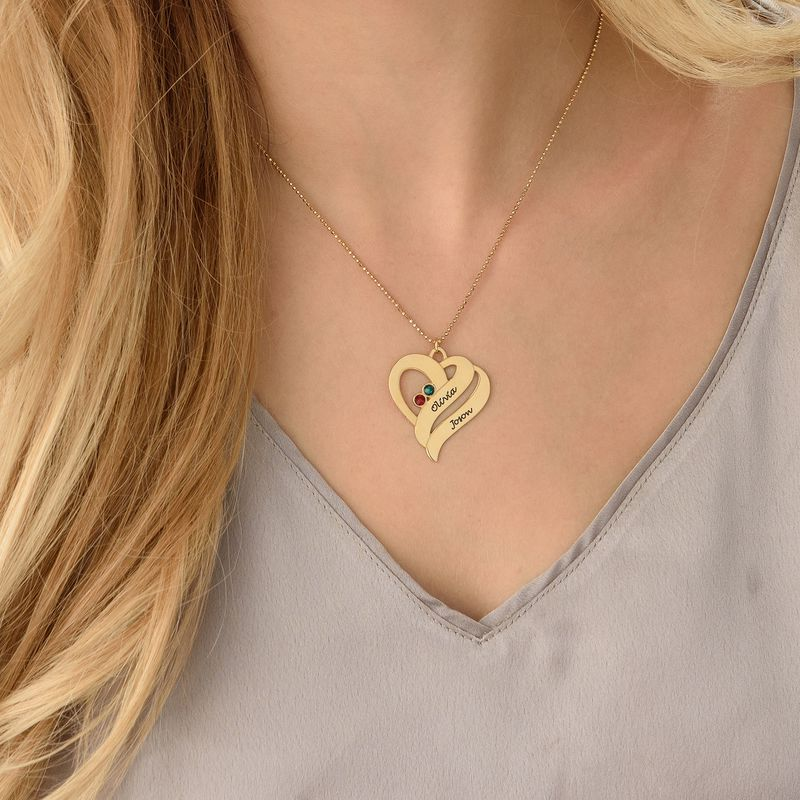 To hjerter banker som èt-halskæde med fødselssten i guld vermeil - 2