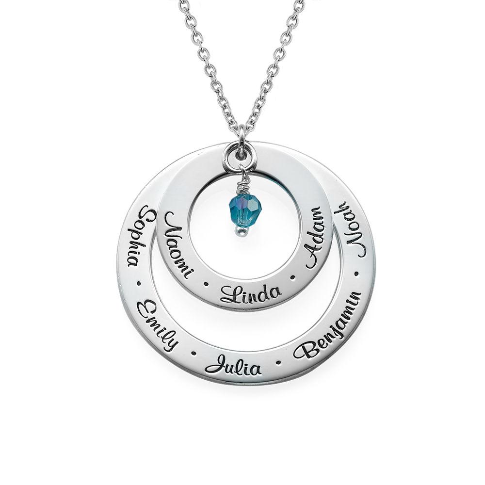 Månedstens-Cirkelhalskæde i Sølv for Bedstemødre