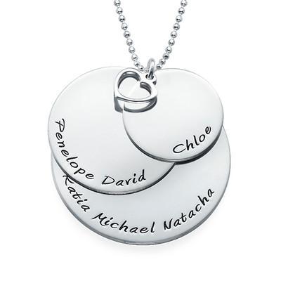 Mor halskæde med navne indgraveret i sølv - 1