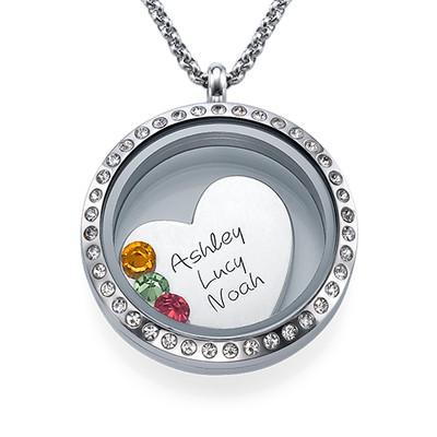 En Moders Kærlighed-Medaljon med Løse Lykkecharms