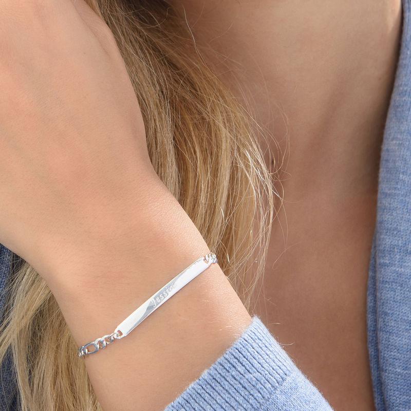 Italiensk ID-armbånd i sølv for kvinder - 3