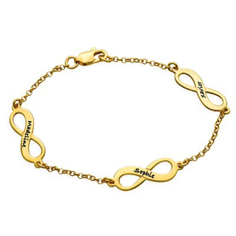 Infinity armbånd til mor med navn i forgyldt sølv