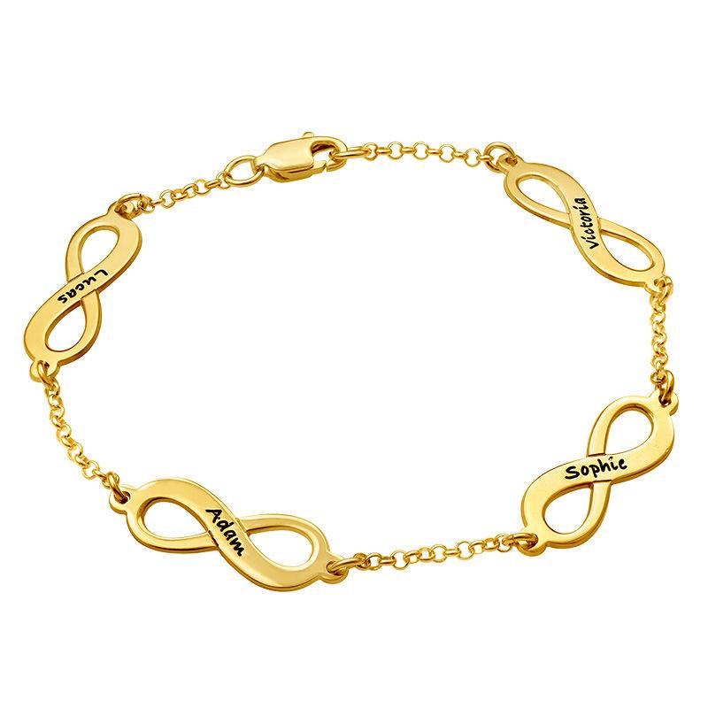 Infinity armbånd til mor med navn i forgyldt sølv - 2