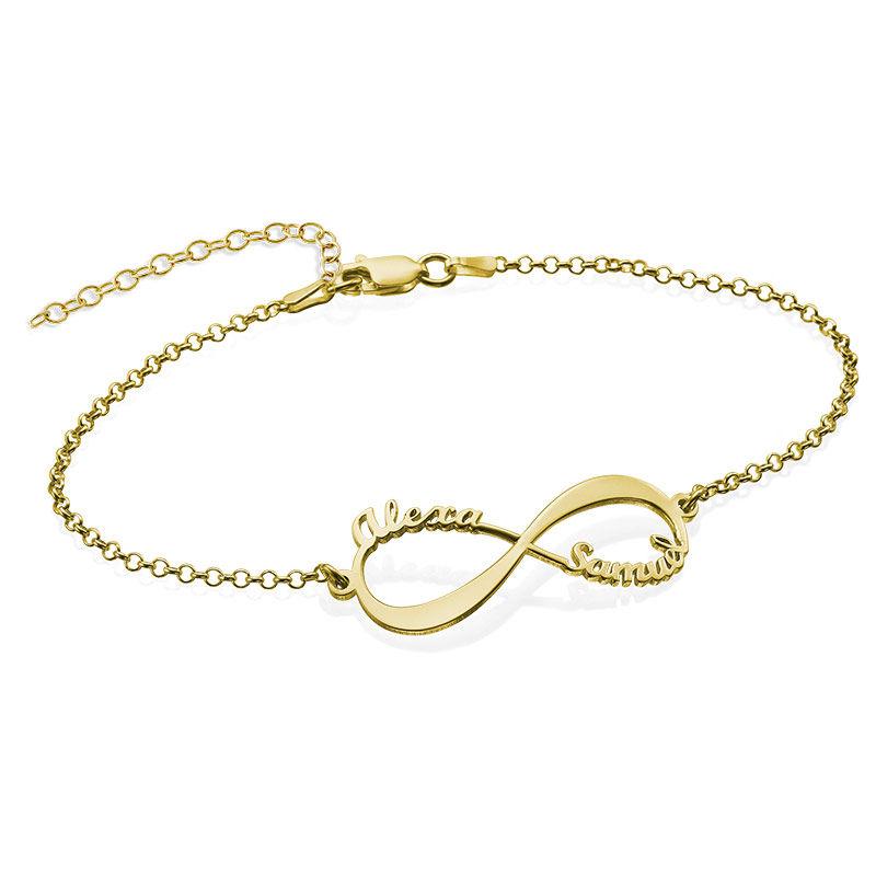 Infinity armbånd med navne - 18K guldbelægning