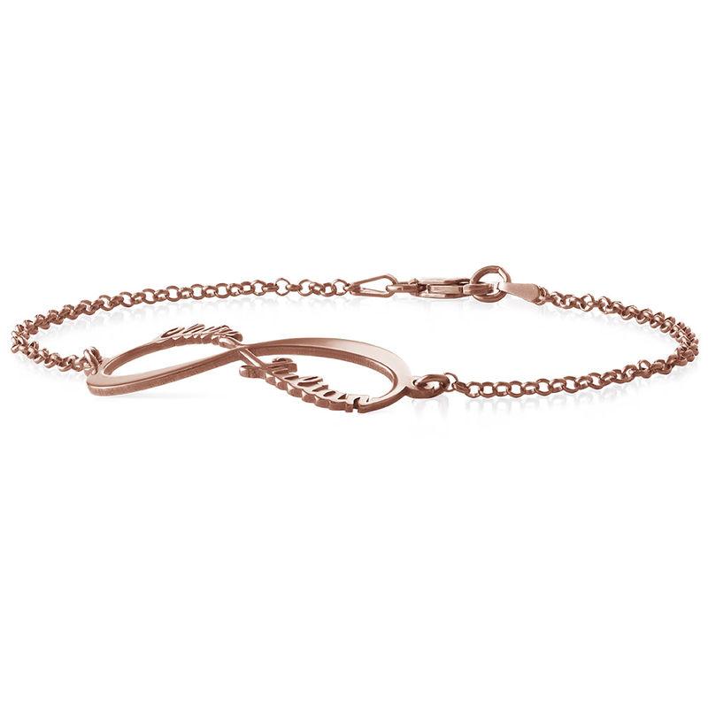 Infinity armbånd med navne - rosaforgyldt  - 1