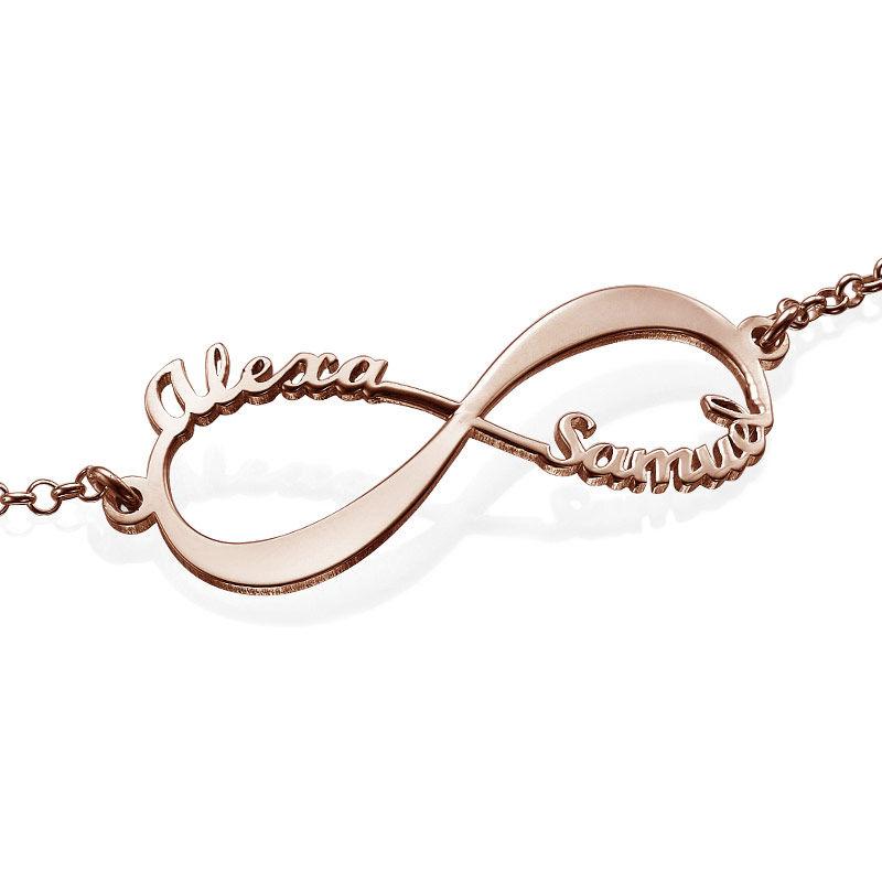Infinity armbånd med navne - rosaforgyldt  - 2