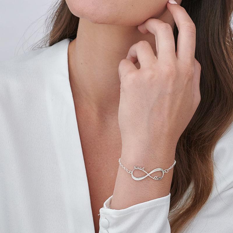 Personligt infinity armbånd med diamant i sølv - 2