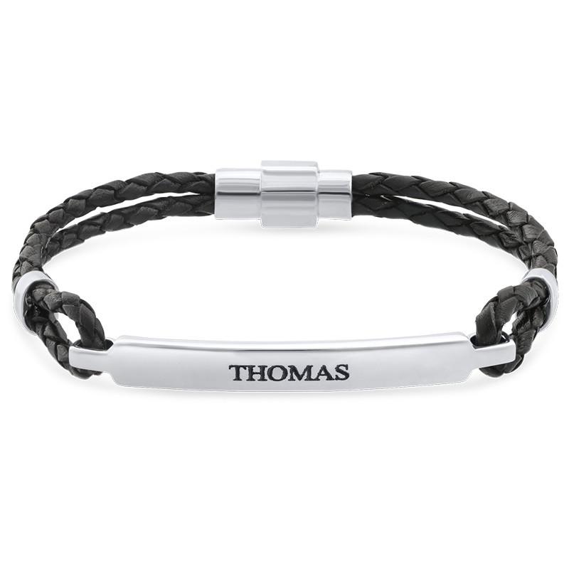 ID armbånd til mænd i læder og rustfrit stål
