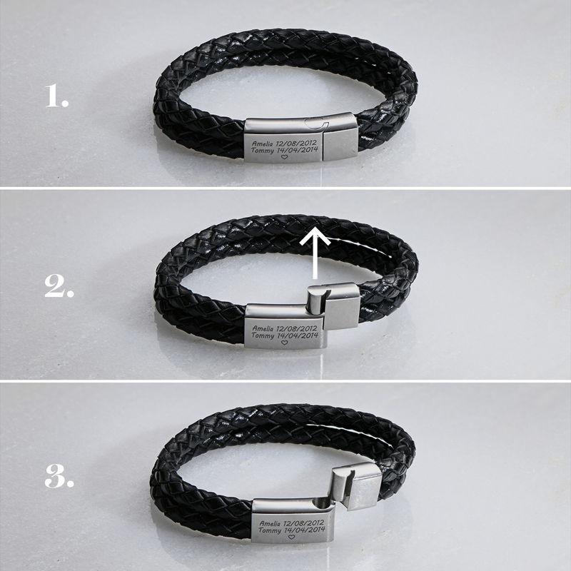 Indgraveret armbånd til mænd i rustfrit stål og læder - 5