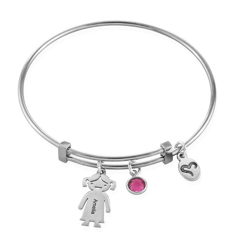Bangle armbånd til mor med graverede børne-charms - sølvbelagt messing - 1