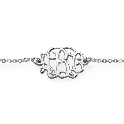Monogram armbånd med initialer i sølv - 1
