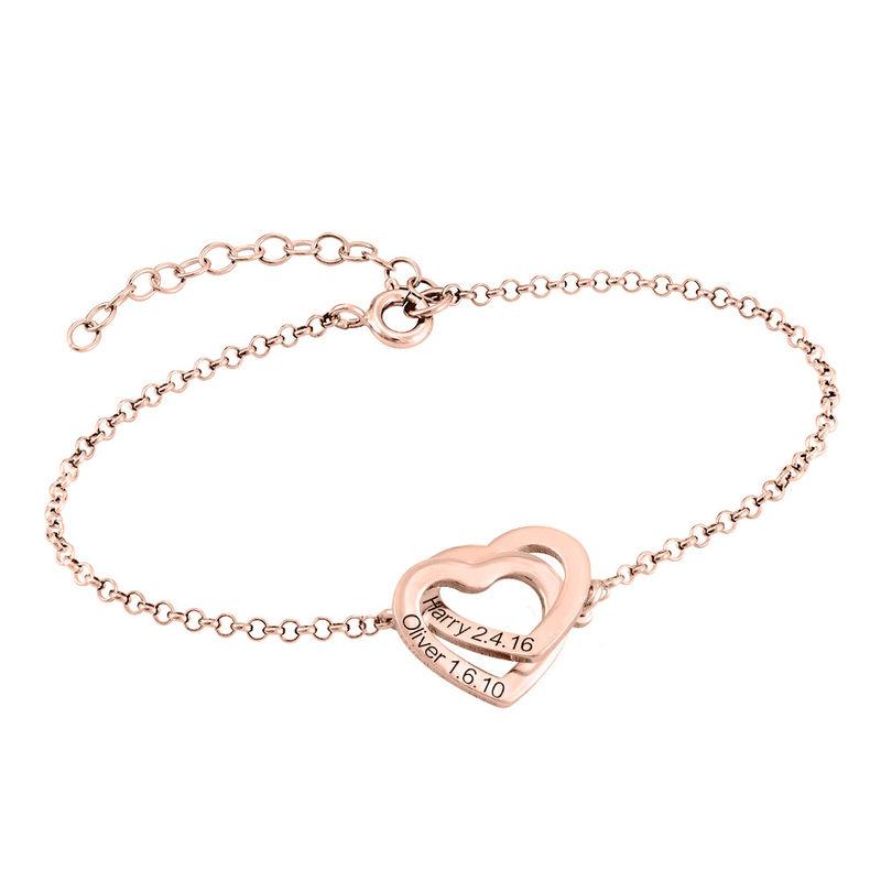Sammenflettet hjerte armbånd i 18 karat rosaforgyldt - 1