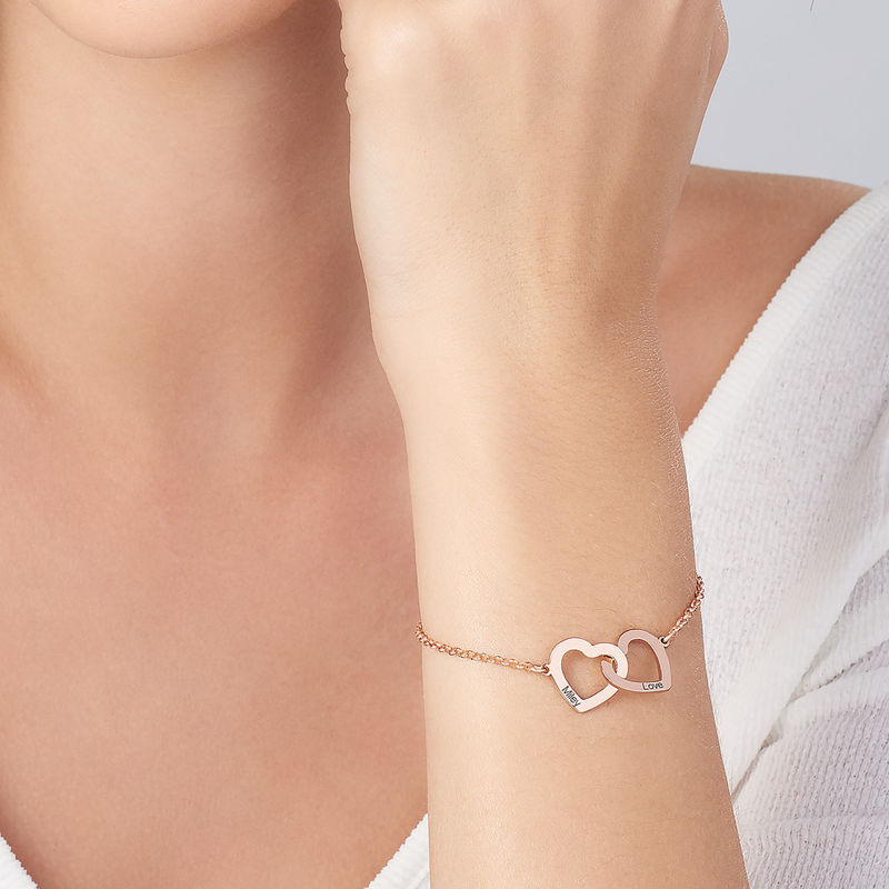 Sammenflettet hjerte armbånd i 18 karat rosaforgyldt - 3