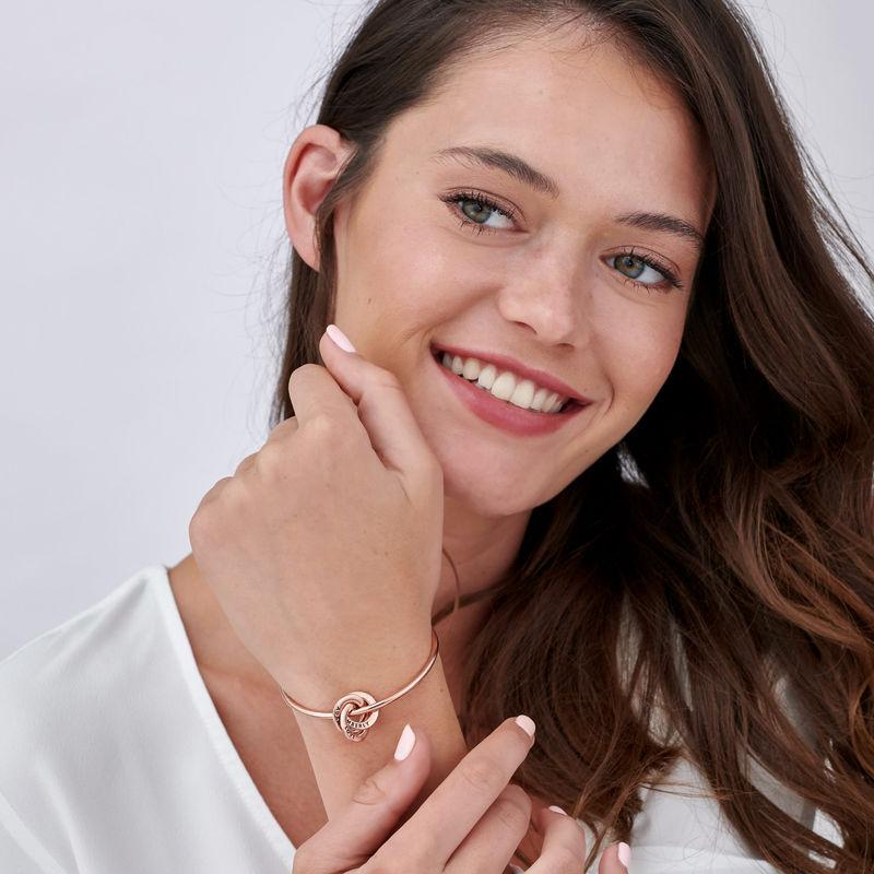 Russisk ring bangle armbånd belagt med rosaguld - 2