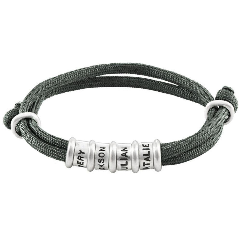 Herre armbånd med sort snor og graverede sølvringe - 1