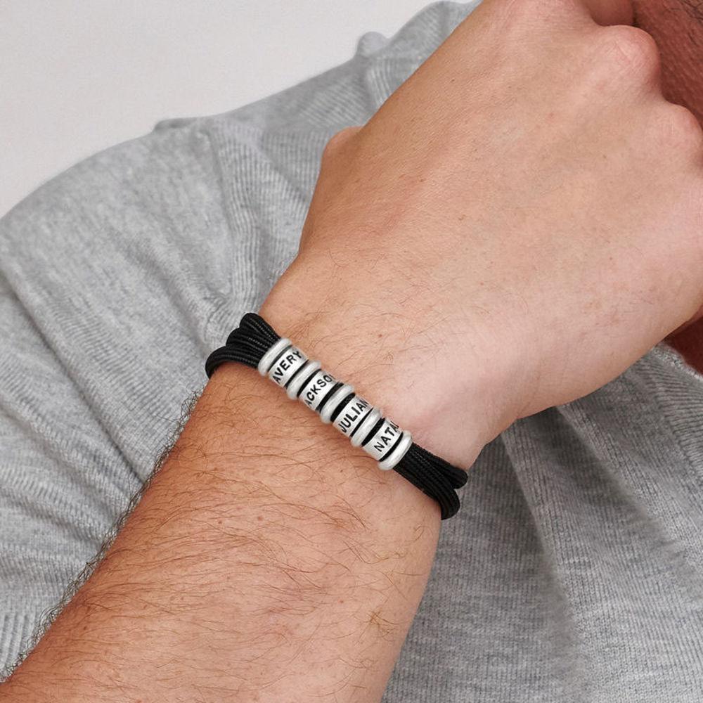 Herre armbånd med sort snor og graverede sølvringe - 3