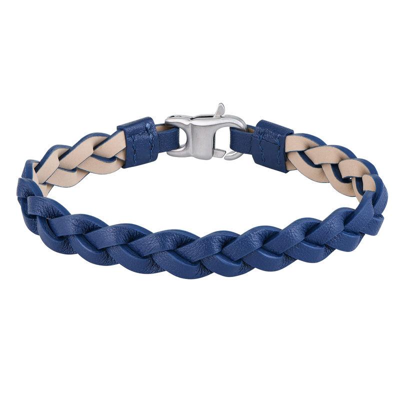 Nautisk læderarmbånd til mænd i blå flet