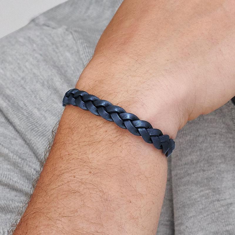 Nautisk læderarmbånd til mænd i blå flet - 2