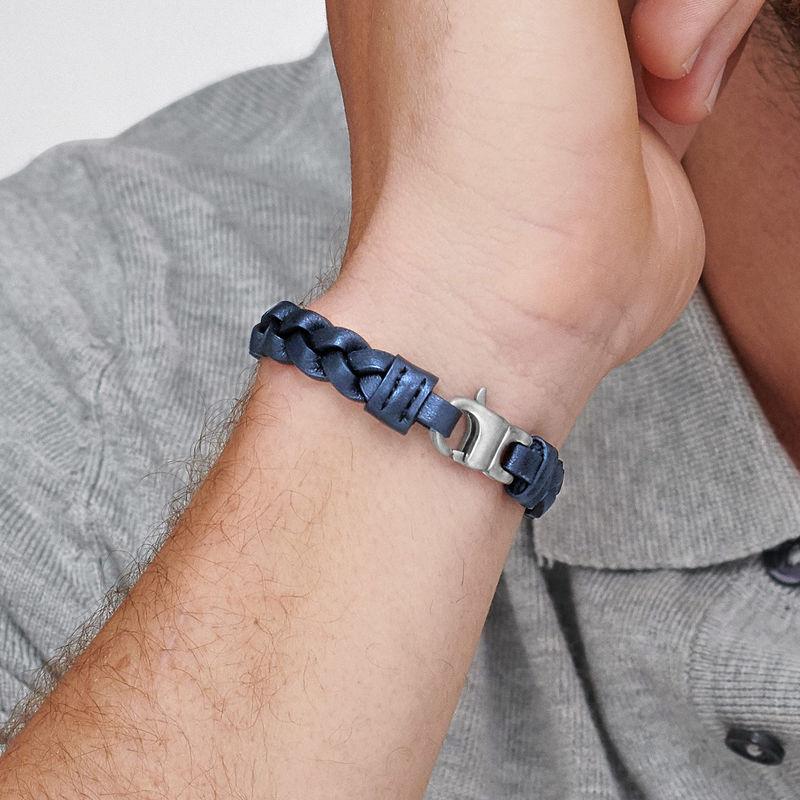 Nautisk læderarmbånd til mænd i blå flet - 3