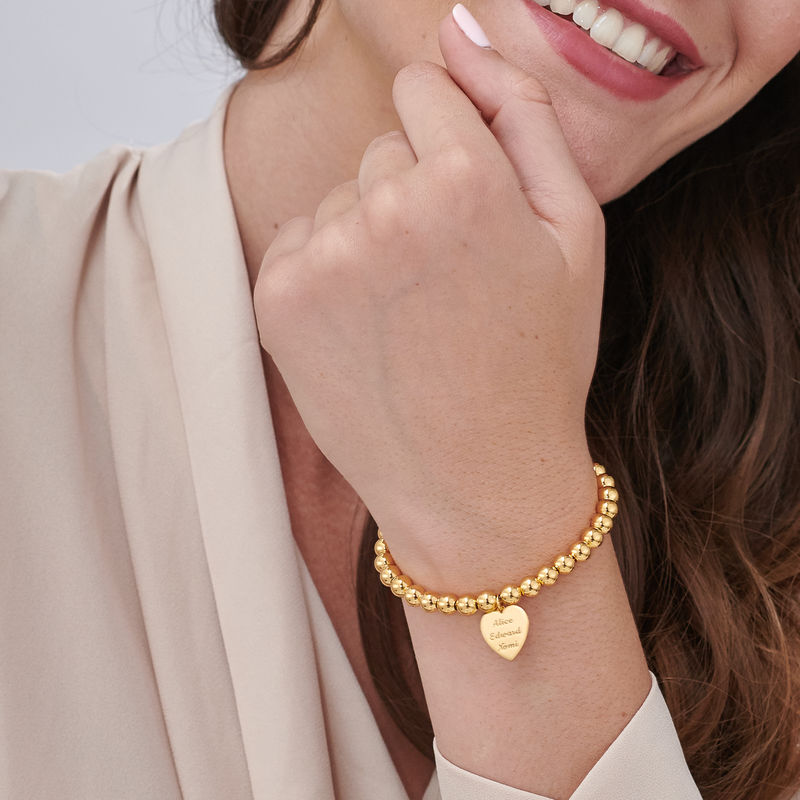 Indgraveret armbånd med perler og hjerte vedhæng - forgyldt - 2