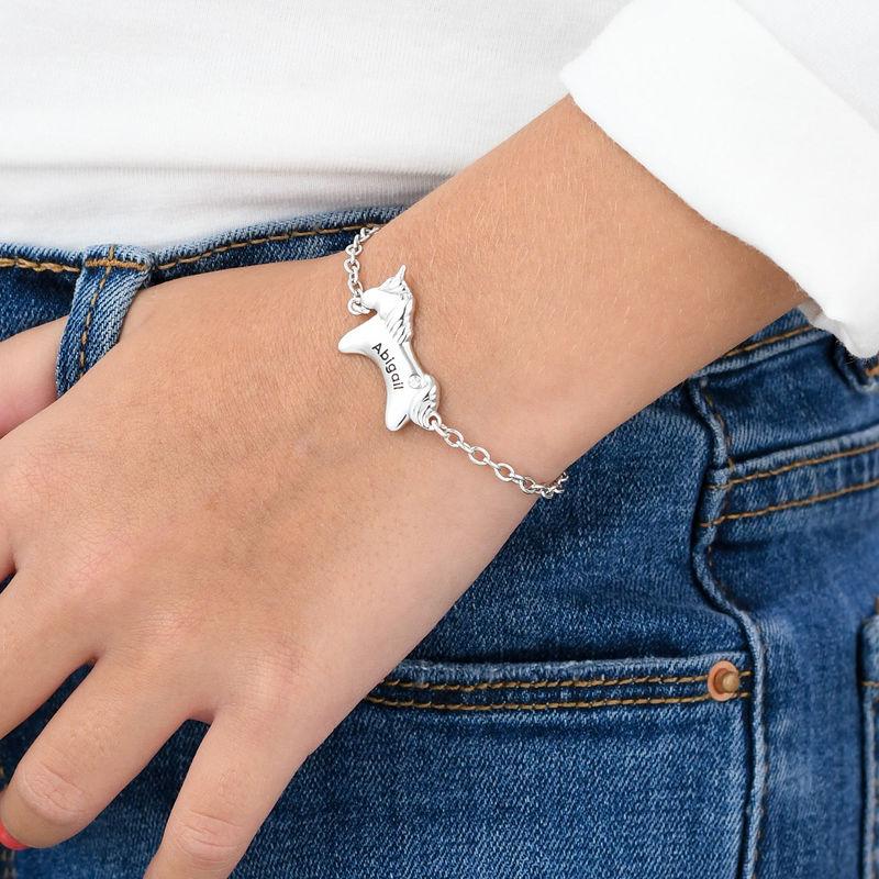 Enhjørning armbånd til piger med cz sten - forgyldt - 2