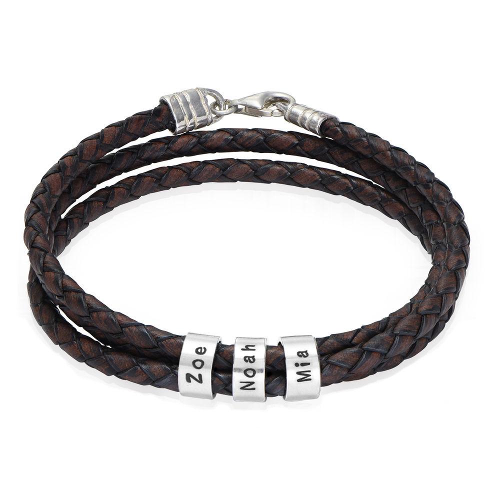 Flettet brunt læderarmbånd til mænd med graverede sølvringe - 1