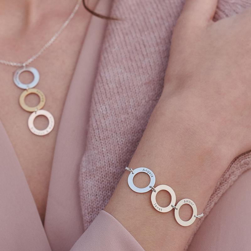 Indgraveret armbånd med 3 cirkel vedhæng i sølv - 4