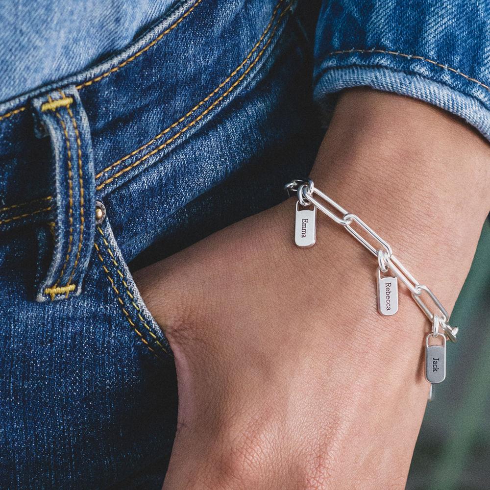 Rory Link armbånd med graverede charms i Sterlingsølv  - 2