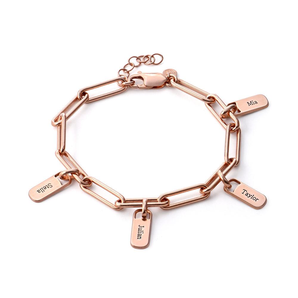 Rory Link armbånd med graverede charms i 18kt. rosaforgyldt sølv