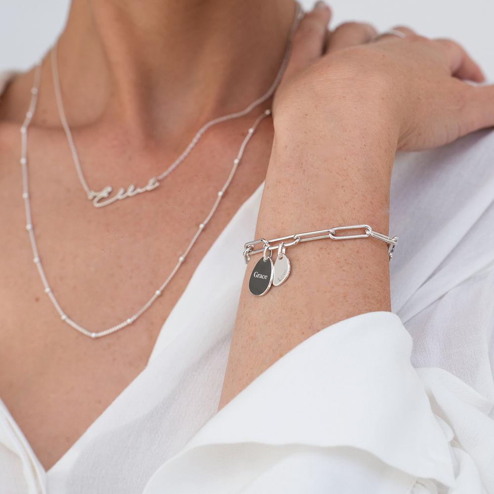 Personligt link armbånd med graverede charms i Sterlingsølv - 3